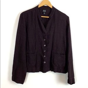 Eileen Fisher Chocolate Brown Linen Casual Blazer